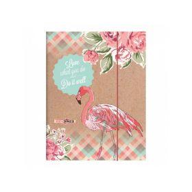 Kartongmapp kummiga A4 ''RVS'' 2016 Flamingo, Brunnen /10