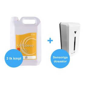 Antiseptik kätele geel 3x5L + dosaator sensoriga seinale 1000ml