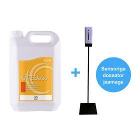 Antiseptik kätele geel 5L+ dosaator sensoriga 1000ml + jalaga jaam