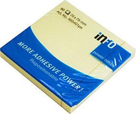 Märkmepaber liimiga Info Notes Power 100lehte, 75x75mm kollane/12/120