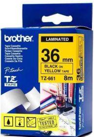 Lint Brother TZ-661 36mm/8m must tekst kollane põhi