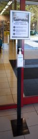 Kätepuhastusjaam tugijalaga põrandale A4 klick-raamiga, hoidik 9x9x9 Meediagrupi