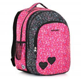 Seljakott/koolikott Explore 2-ühes Anna, roosad ja mustad südamed
