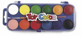 Vesivärvid 12 värvi+pintsel, plastkarbis, Toy Color /12/96
