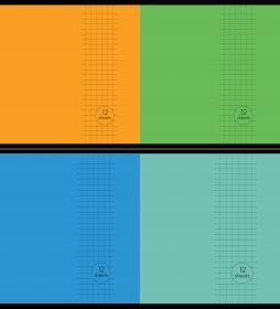"Vihik A5/12l ruut ""Basic"" 4 värvi 60g, Unipap /25"