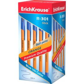 Pastapliiats Erich Krause R-301 oranž korpus, 0,7mm sinine/50/400