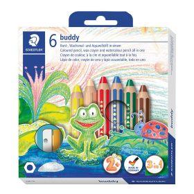 Värvipliiatsid 6 värvi+teritaja ''Buddy'', akvarelluvad,2+, Staedtler/5