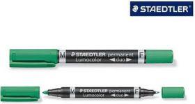 Marker Lumocolor duo kahe otsaga 0,6/1,5mm roheline, Staedtler /10/50/1000