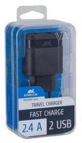 Laadija 2 USB pesaga 2,4A must, Rivacase