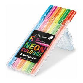 Viltpliiatsid 6 värvi 1,0 Triplus Neon Colour plastpinalis, Staedtler /10